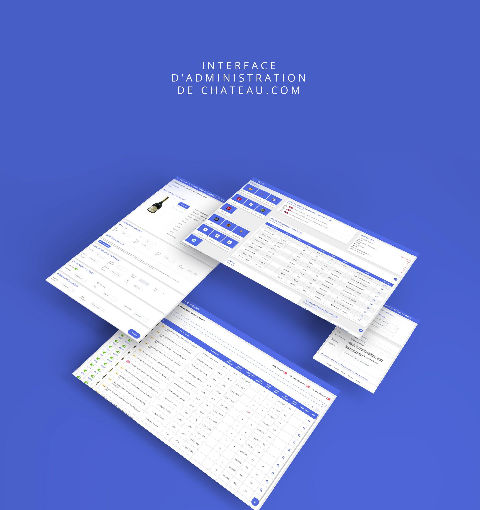 Webdesign d'une interface d'administration d'une boutique en ligne