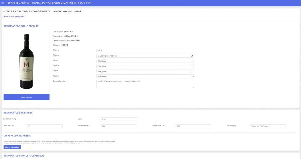 Design de l'interface de gestion du produit