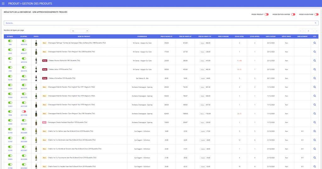 Webdesign du tableau récapitulatif des produits