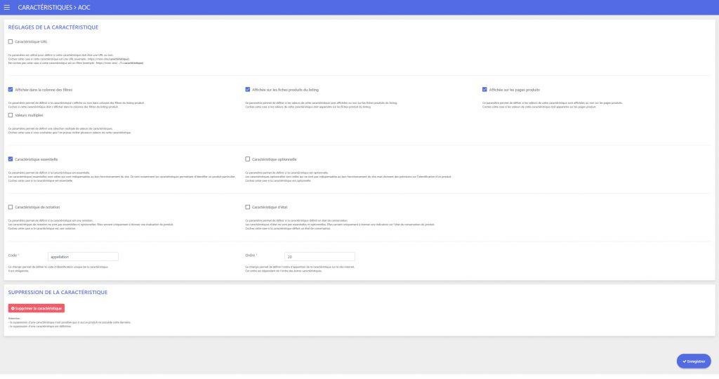 Design de l'interface de gestion des caractéristiques