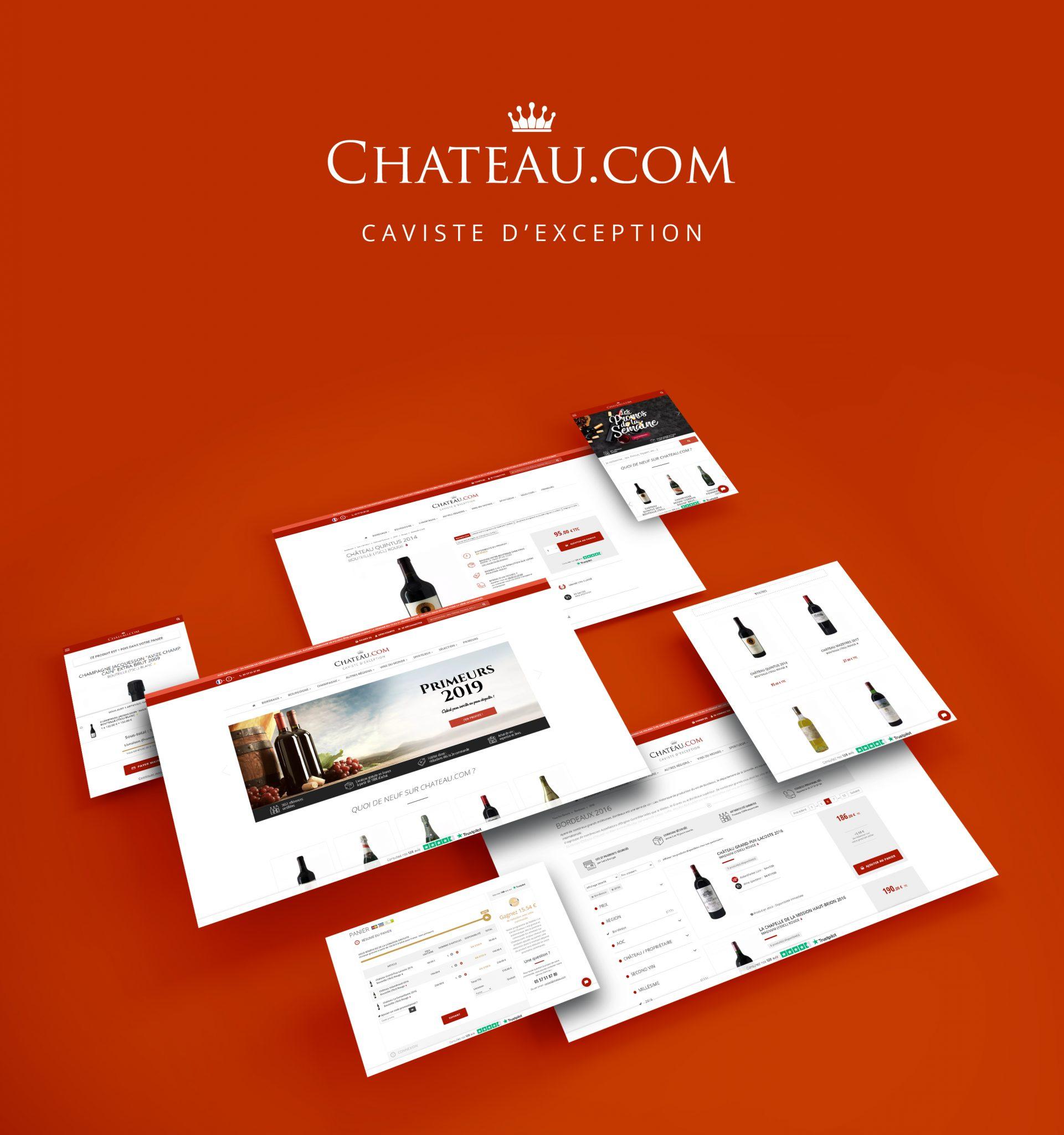 Webdesign de Chateau.com, site de vente de vin en ligne