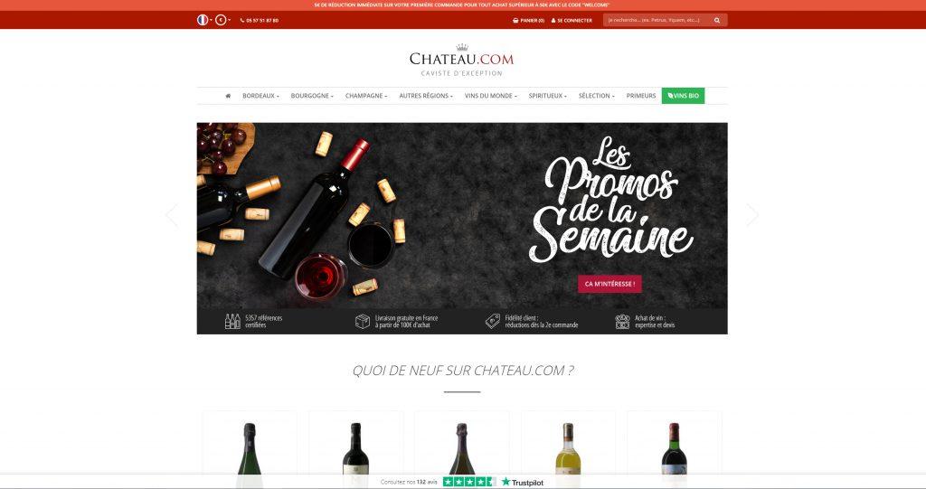 Webdesign de l'accueil de Chateau.com