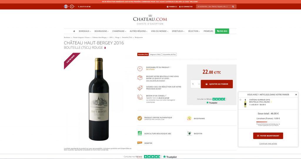 Webdesign de la page produit de Chateau.com