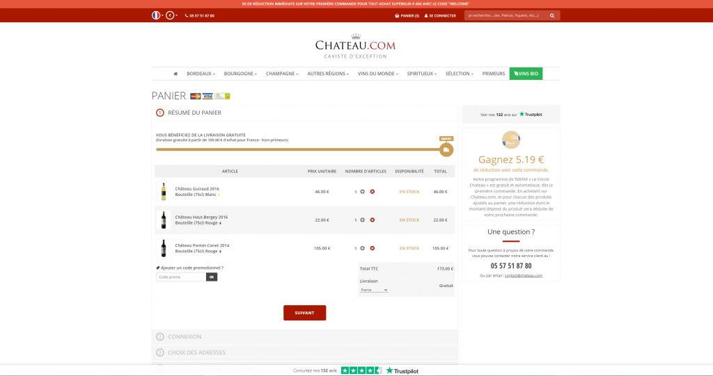 Webdesign du panier de la boutique Chateau.com